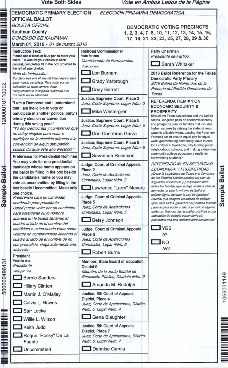 2016 March 01 Primary Sample Ballots | Forney Votes